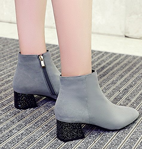 Booties Aisun Comfy Gray Zip up Square Women's Toe aaxnqvY