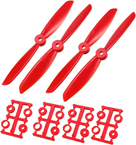uxcell RC Propellers 5030 5x3 Inch 2-Vane Quadcopter for Airplane Toy Nylon Red 10 Pairs with Adapter Rings