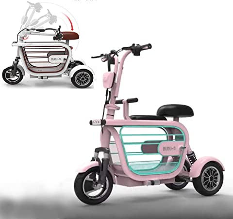 WLY Bicicleta eléctrica Plegable de Tres Ruedas para Adultos Mayores Mini vagón Exterior 48V20A Scooter eléctrico de Litio Independiente Colgando Rueda Trasera duración de la batería (60-70KM),Pink: Amazon.es: Hogar