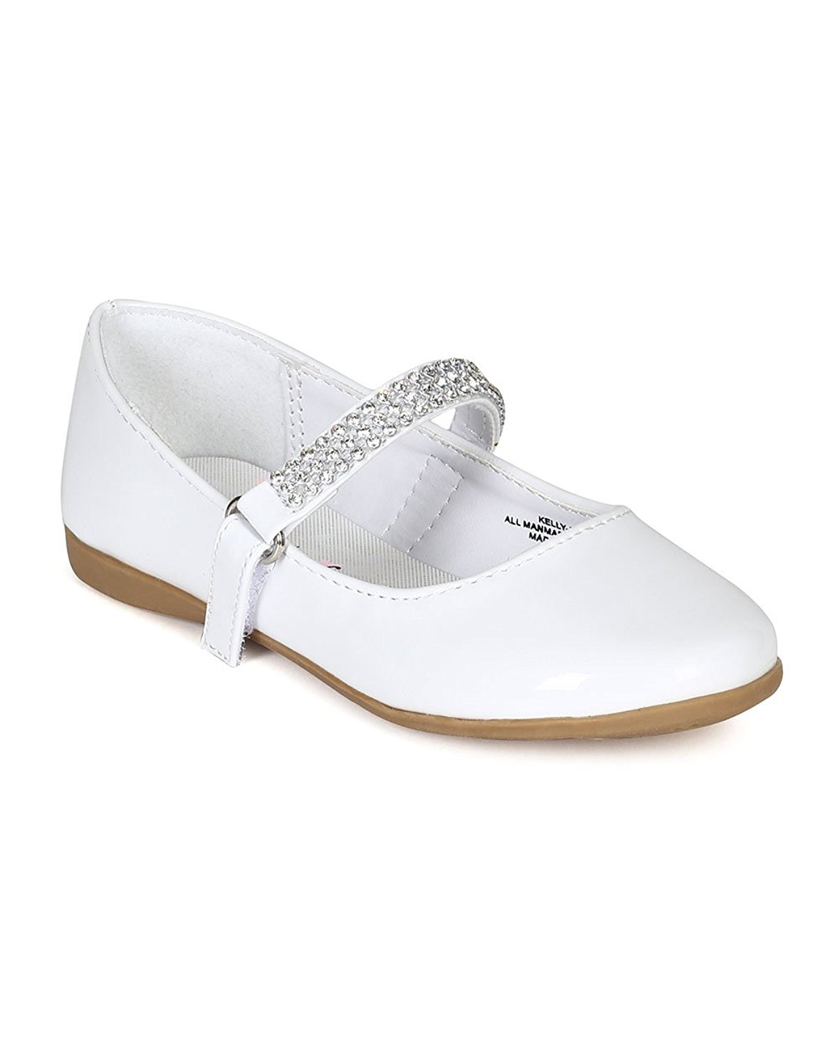 Patent Leatherette Round Toe Rhinestone Mary Jane Ballerina Flat (Toddler/Little Girl/Big Girl) CA03 - White (Size: Little Kid 12)