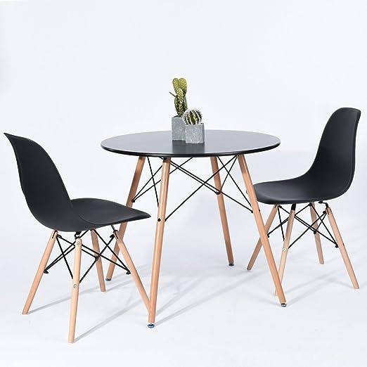 Mesa de comedor redonda 80 cm diseño escandinavo madera negro ...