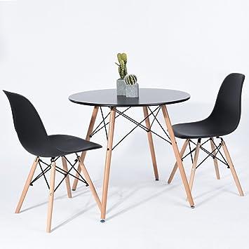 Esstisch Rund 80 Cm Skandinavisches Design Holz Schwarz