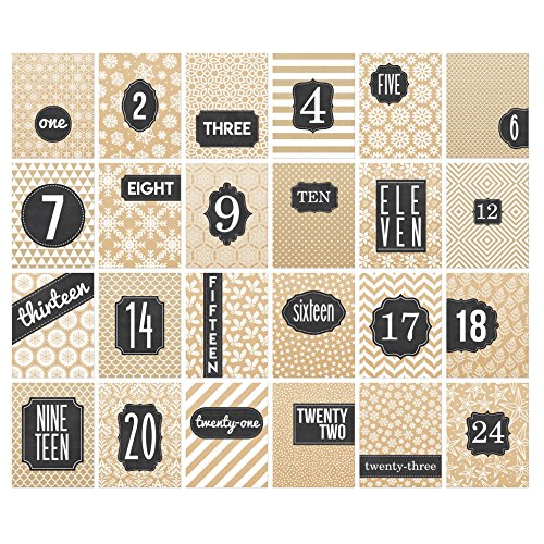 Religious Advent Calendar, 24 Numbered Cards, Bible Verses on Back, Reusable (Kraft & Chalkboard) (Christmas Countdown Banner Calendar)