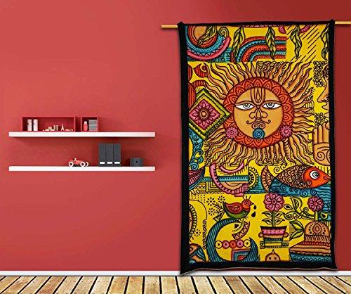 Sun Tapisserie Hippie Nappe jaune décoration murale art drap de lit 215,9x 139,7cm, 100 % coton, jaune, 85X55 Inches