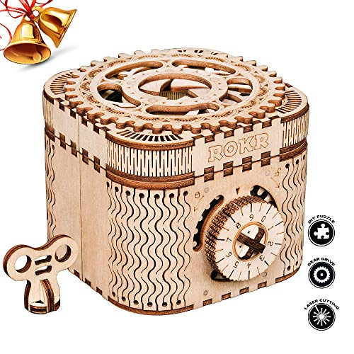ROBOTIME 3D Wooden Treasure Box Puzzle Unique Model Kits to Build Mechanical Engineering Kits Great Birthday for Adults and Children Age 14+ ()