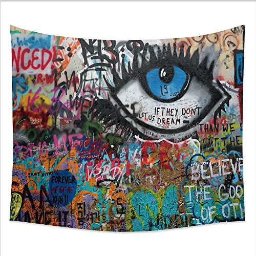 UHOO Decor Fleece Throw Blanket 138037016 PRAGUE, CZECH REPUBLIC - APRIL 23The Lennon Wall since the 1980s filled with John Lennon-inspired graffiti and pieces of lyrics from Beatles songs on Apr 23,