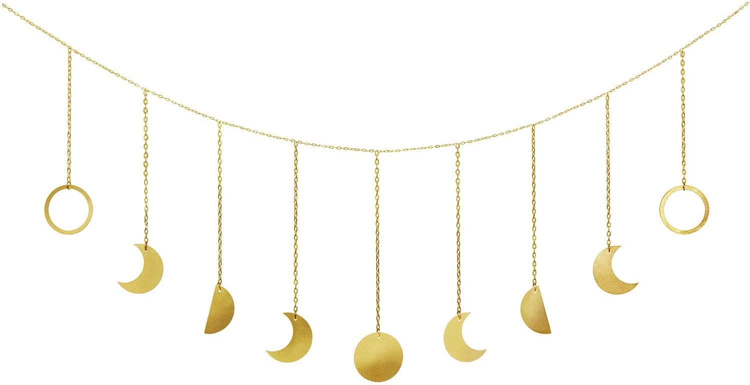 Mkouo Moon Phase Garland with Chains Boho Gold Shining Phase Wall Hanging Holiday Ornaments Moon Hang Art Room Decor for Bedroom Living Room Apartment Dorm Nursery Home Office, Gold