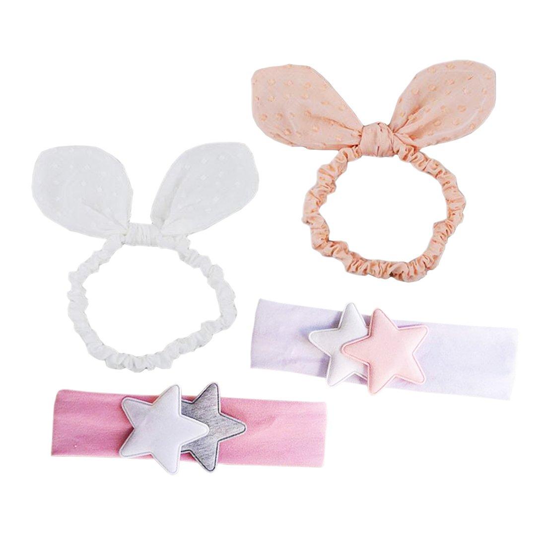 Jmitha Bambino fascia Fasce di fiore della neonata Cerchietto elastico Accessori per capelli a fiori - 4 pezzi E-a01