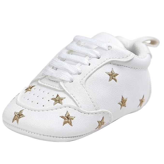 Fossen Recién nacido Bebe Zapatos Cuero artificial Zapatillas con Bordado Pentagram Suela Blanda Antideslizante Primeros pasos Para Bebé Niñas Niño: ...