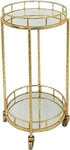 Sagebrook Home 12283-02 Metal & Mirror Round Bar Cart, Gold Metal/Mirror, 18 x 18 x 31.5 Inches