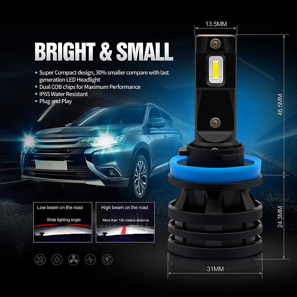 Ultra Compact LED Headlight Bulbs Conversion Kit 12000 Lumen 6000K Pure White Color Full Aluminum Body Pack of 2 SiriusLED 2019 S4 Series H11 H8 H9