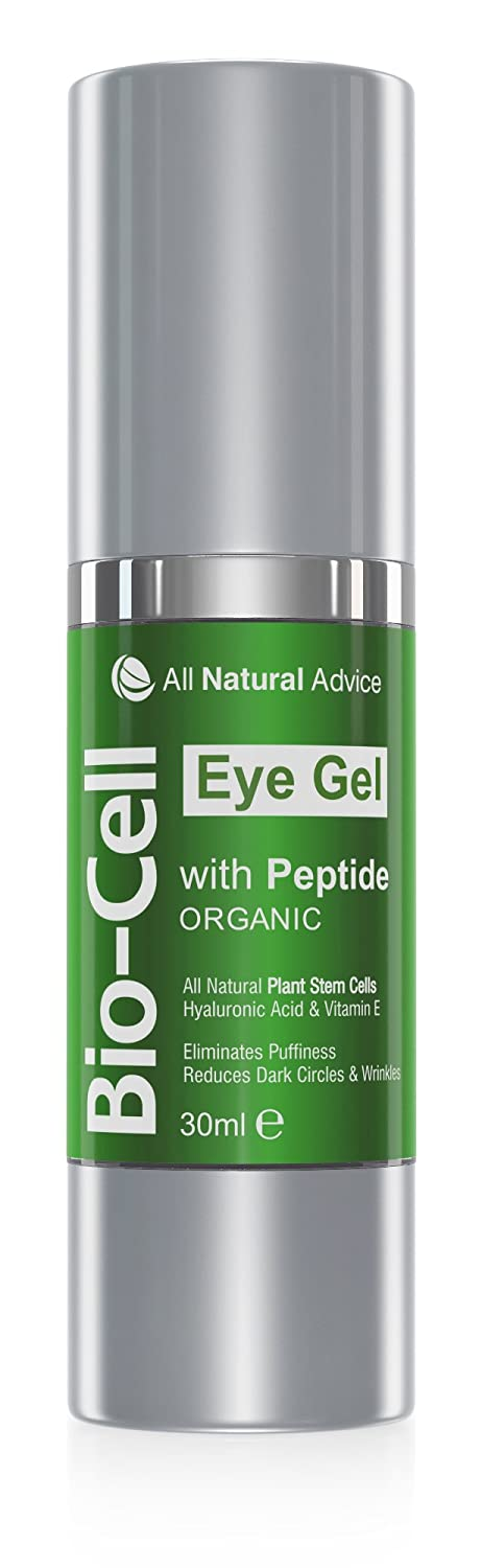 Bio Cell Eye Cream Gel 30 ml - Canadian Made - Certified Organic + Peptide + Hyaluronic Acid + Plant Stem Cells to Remove Circles and Puffiness while Boosts Collagen Anti-Aging Skin Care All Natural All Natural Advice
