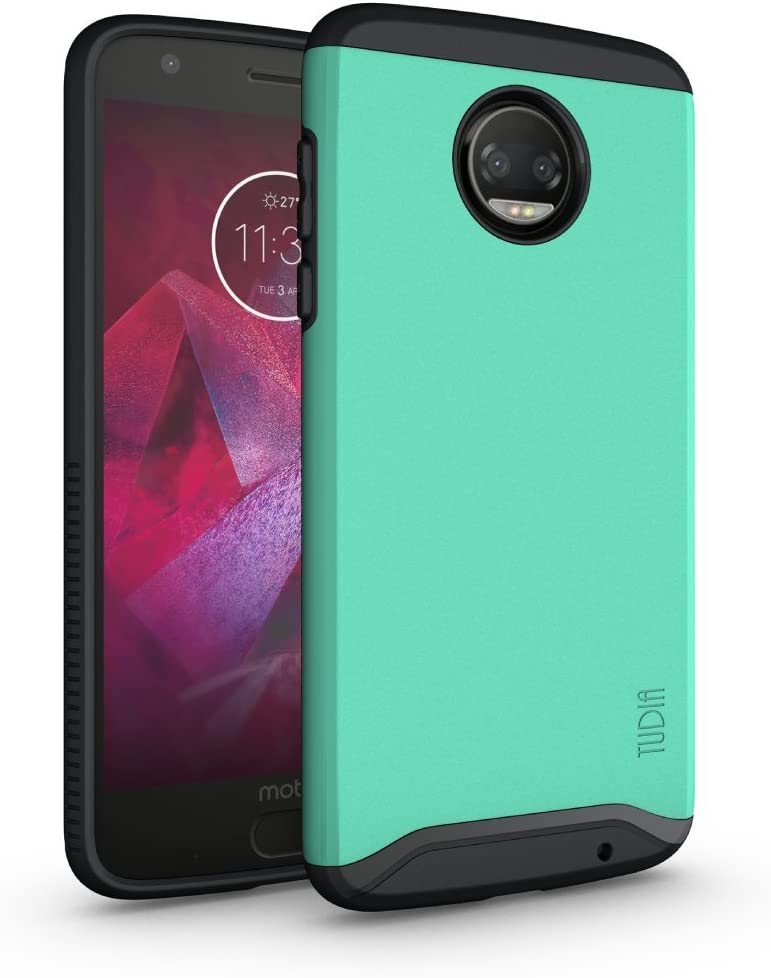 TUDIA Dual Layer Fit Designed for Motorola Moto Z2 Force Case, [Merge] Rugged Hard Back Heavy Duty Slim Protective Phone Case for Moto Z2 Force (Mint)