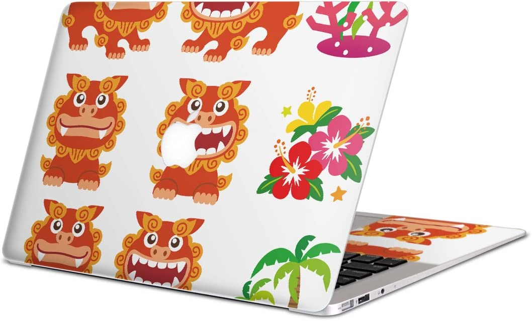 igsticker Skin Decals for MacBook Pro 15 Retina mid 2012-mid 2015(Model A1398) Ultra Thin Premium Protective Body Stickers Skins Universal Cover Shisa Okinawa Hibiscus