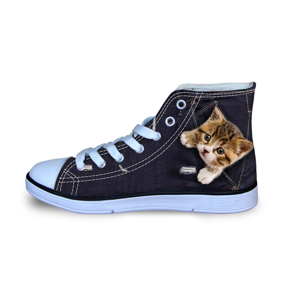 Coloranimal Athletic High Top Canvas Shoes Black 3D Cat Pattern Comfortable Soft Lace up Mesh Flats Footwear US3