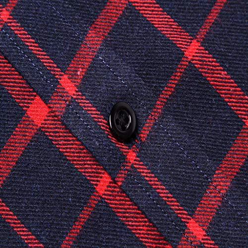 Unique Mode Facile Longue Coton B Repassage Chemise Rouge Hommes Business Élastique Grande Poche Carreaux S À Slim Manche 2xl Sonnena Taille Printemps Hauts Casual Fit Automne TYOwq