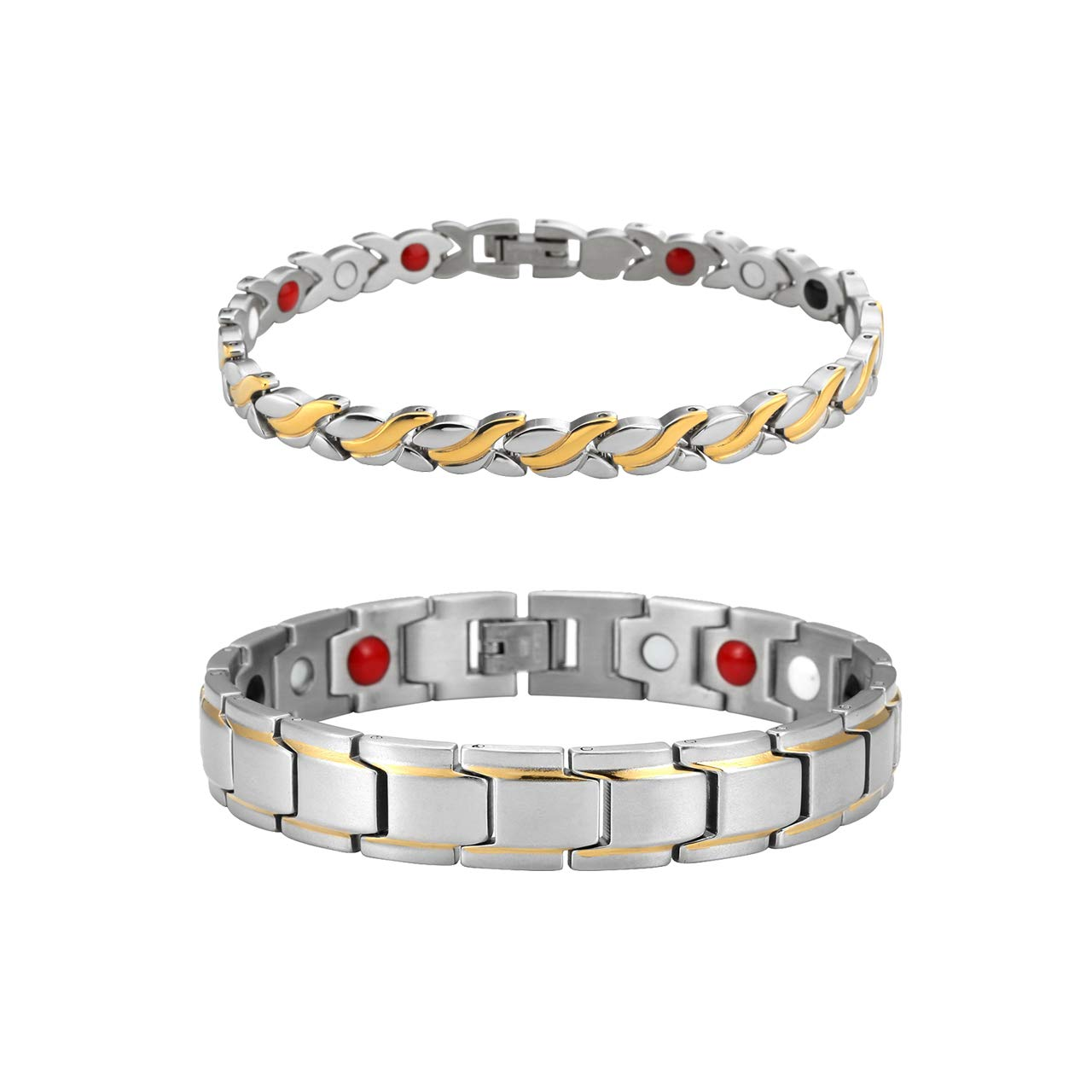Zysta 2PCS Magnetic 4 Elements Bracelets Titanium Blood Sleep Improve Relax Pain Reduce Stainless Steel Couples Families Cuff Bagnle Wristband with Adjustable Kit