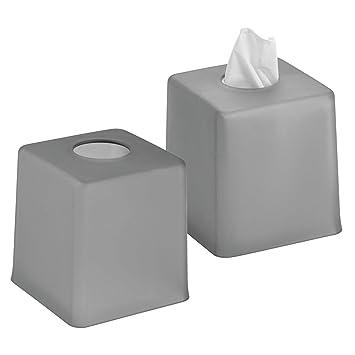 mDesign Juego de 2 cajas para pañuelos de papel – Caja para toallitas para baño,