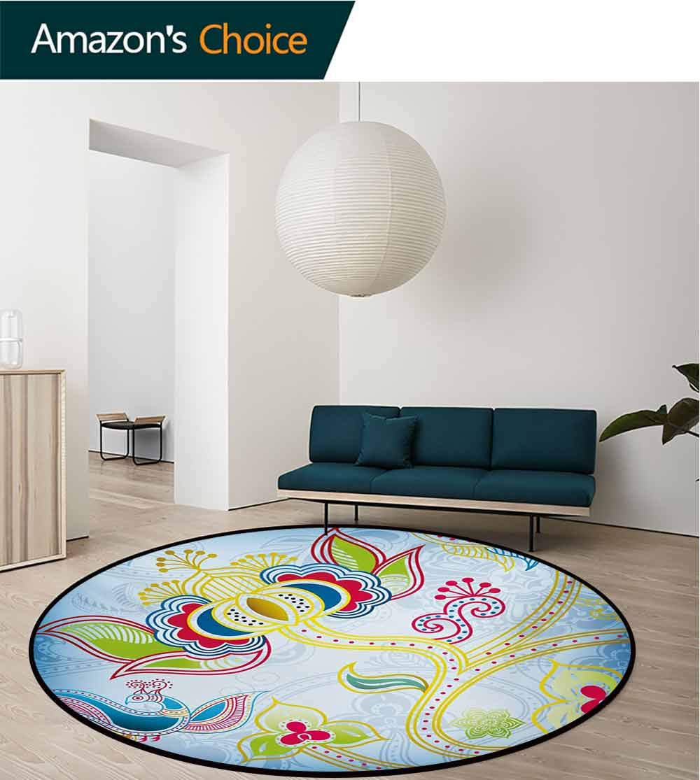 RUGSMAT Asian Art Deco Pattern Non-Slip Washable Round Area Rug,Colorful Floral Far Eastern Art Motifs Swirled Lines Dots and Phoenix Bird Figure Foam Mat Living Room Decor,Diameter-47 Inch