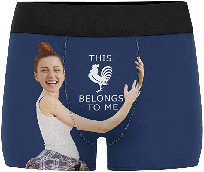 Personalized Face Underwear This Belongs to Me Navy Face Boxers Custom