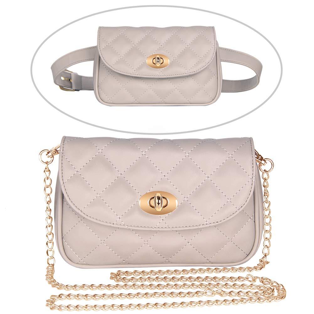Badiya Women Fashion Quilted Leather Fanny Pack Waist Bag with Crossbody Chain by Badiya