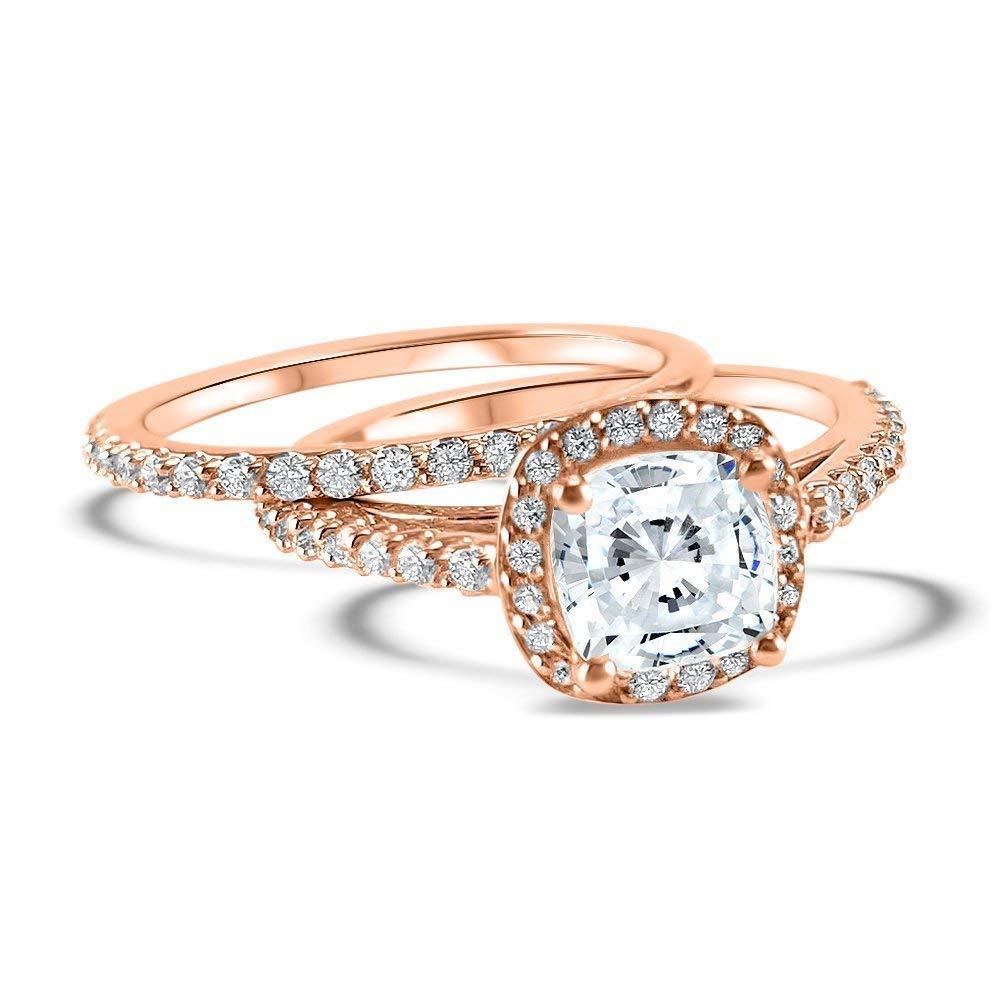Amazon Cushion Cut Halo Diamond And Moissanite Wedding Set 14k Rose Gold 2 Carat 3 4 Center Engagement Ring Band Bridal: Cushion Cut Moissanite Wedding Ring Sets At Reisefeber.org