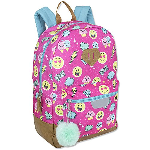 Emoji Motif Printed Pink 17.5 inch Backpack with Pom-Pom Dangle Backpack for girls boys cute school (Motif Dangle)