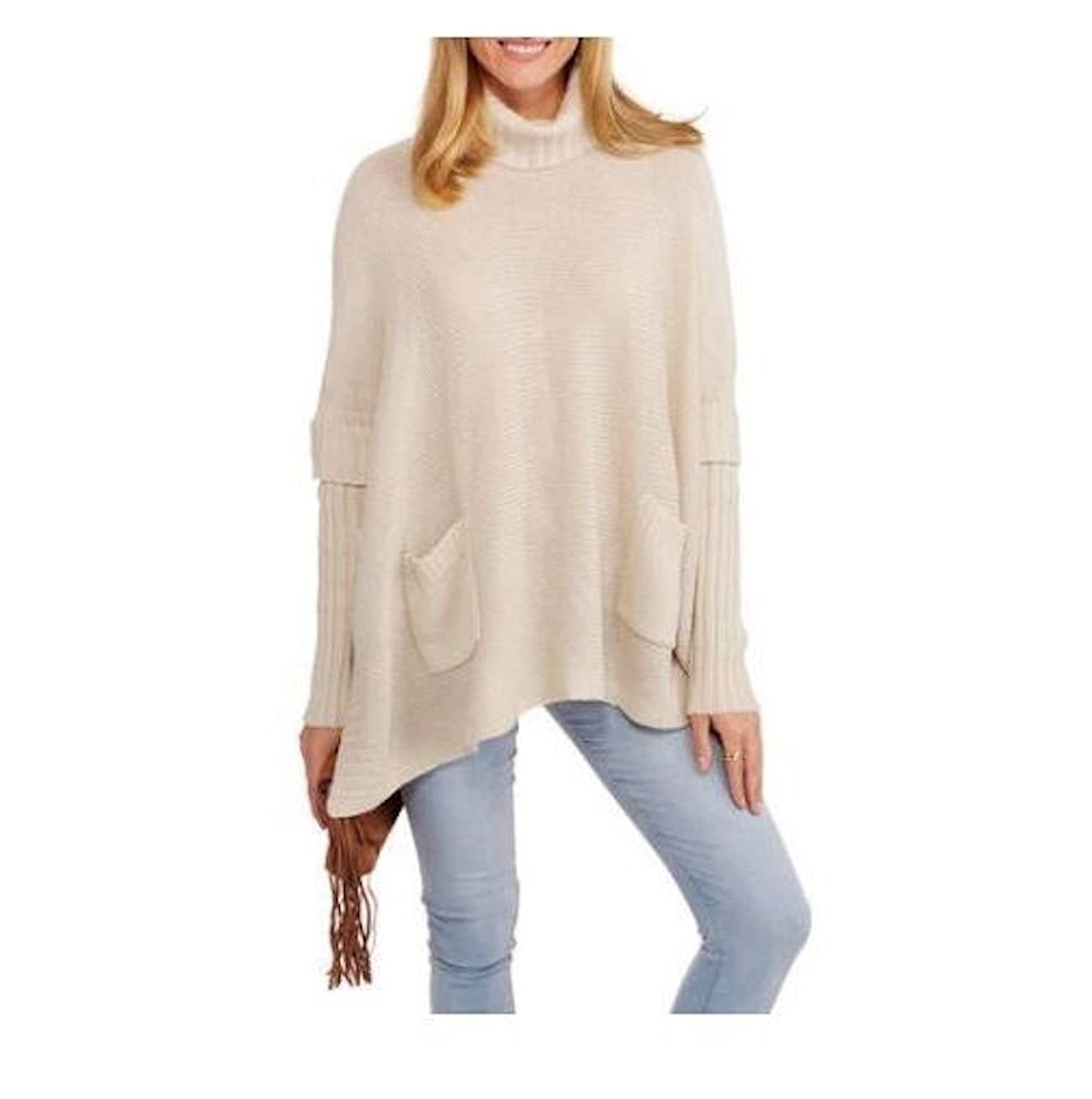 George Women's Turtle Neck Sleeved Poncho, Ivory, Small