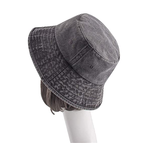 8ed8fe81eaf67 Quality Washable Cowboy Cotton Bucket Hat Fishman Flat Caps Panama Men  Women Bob Polo Sun Hat Black  Amazon.co.uk  Clothing