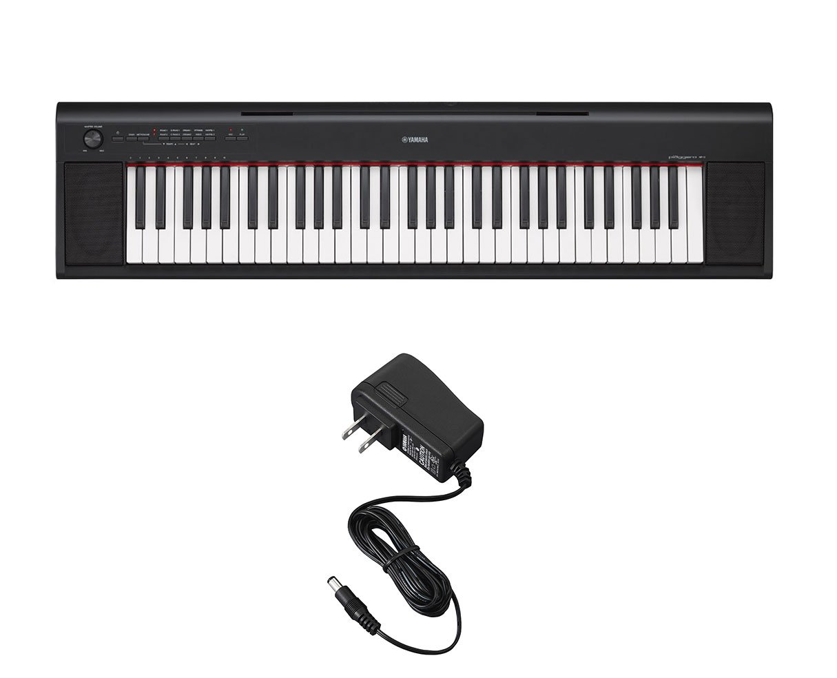 Yamaha NP12 NP-12 Black Portable Digital 61-Key Piano with Free Power Supply