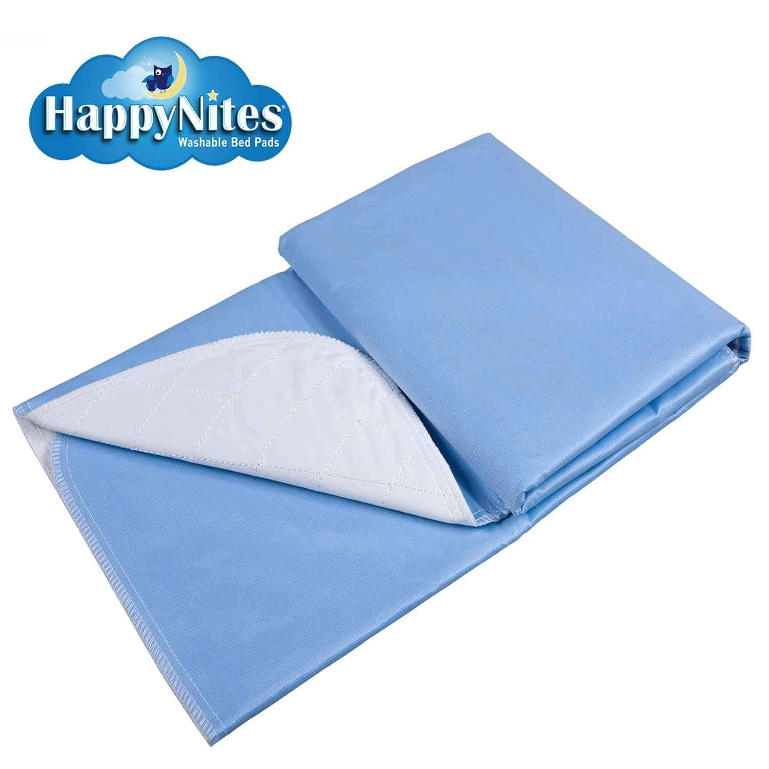HappyNites Bed Mat Bedwetting Underpads - Washable 36x52, Hospital 1500ml Soft Reusable Waterproof Bed Mats for Incontinence Kids Elderly Adults (36x52-2pack)