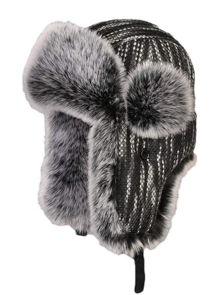 ONCEFIRST Unisex Winter Knit Cossack Trapper Pilot Aviator Cap Hat Black L