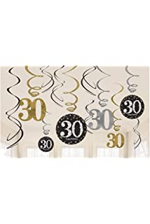 30th Birthday Decorations Kit Sparkling SWIRL DECORATIONS Pack Of 12