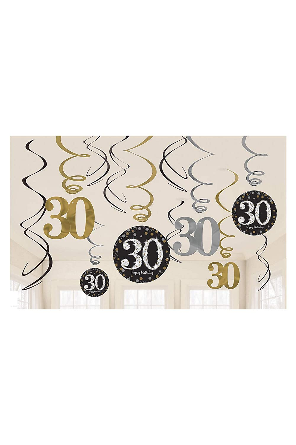 12 SPARKLING CELEBRATION 40th Birthday SWIRL DECORATIONS ~ Party Supplies Foil
