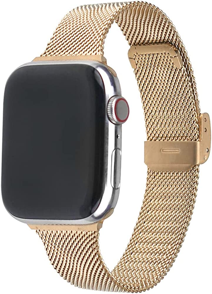 Toogu Adjustable Stainless Steel Mesh bands Compatible with Apple Watch 38mm 40mm 42mm 44mm, Protective Case with Loop Mesh Wristbands Replacement Strap For Iwatch Series 6/SE/5/4/3/2/1
