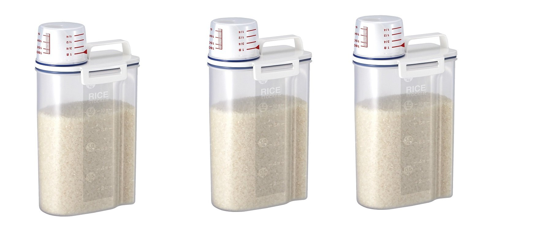 Rice Storage Bin with Pour Spout by Asvel 2kg ('3' PACK)
