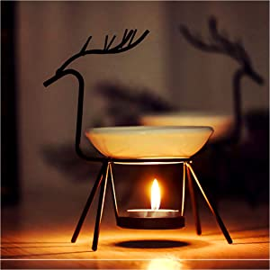 SXCHEN Delicate Romantic Ceramic Tealight Candle Holder Oil Burner Essential Oil Incense Aroma Diffuser Furnace Home Decoration Modern Iron Artistic Deer