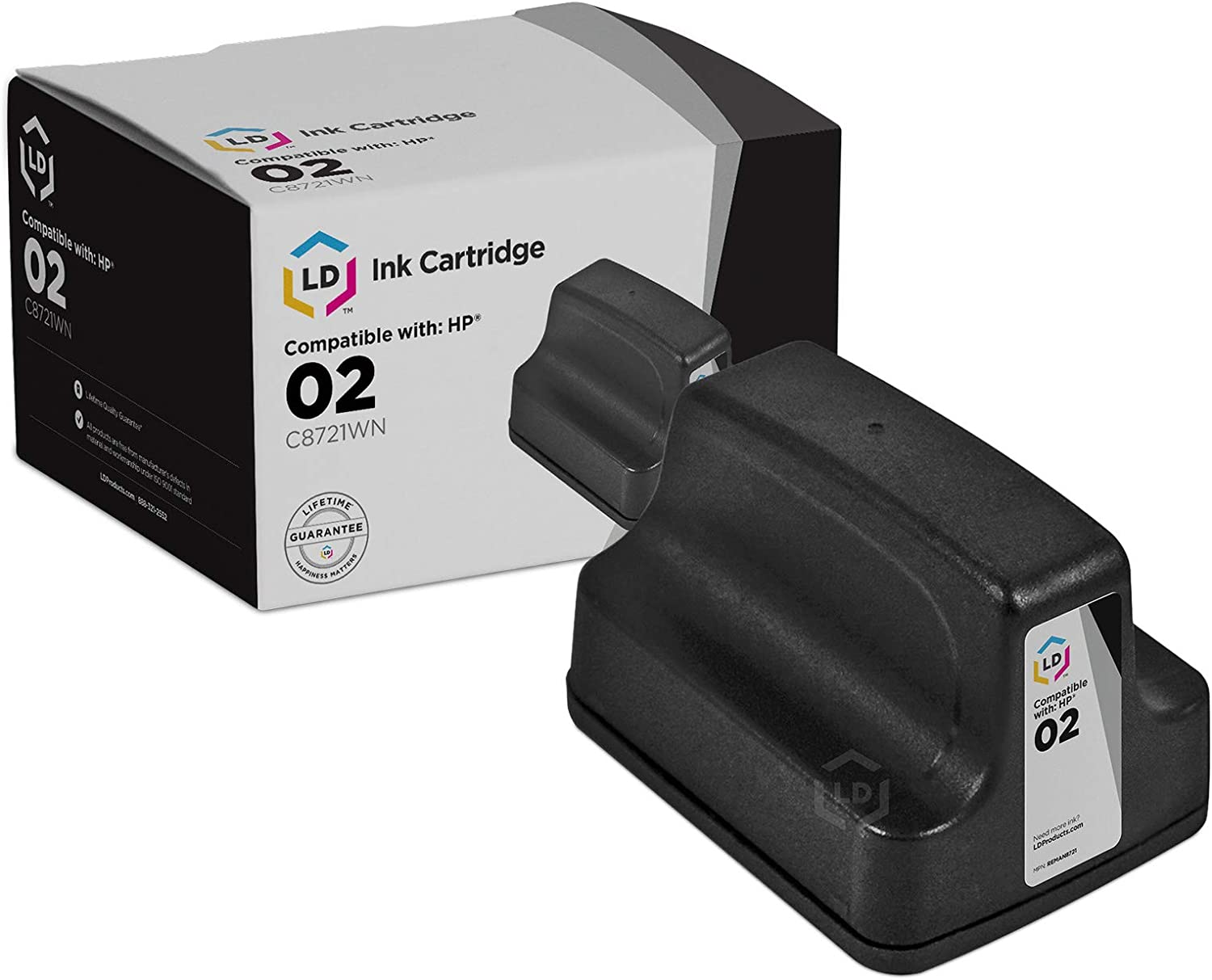 LD Remanufactured Ink Cartridge Replacement for HP 02 C8721WN (Black)