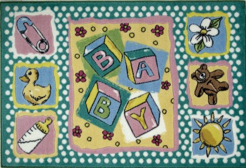 Baby Shower Teddy Bear Duck (Baby Nursery Room and Kids / Children Room Area Rug Featuring Baby Blocks, Teddy Bear, and Shower Duck 39