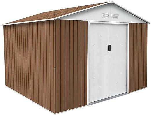 Gardiun KIS12863 - Caseta Metálica Bristol 7, 74 m² Exterior 241x321x205 cm Acero Galvanizado Marrón: Amazon.es: Jardín