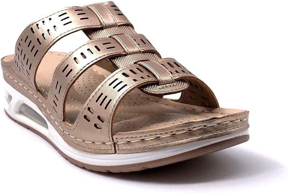 Angkorly Chaussure Mode Sandale Nu-Pieds Style orthop/édique Senior Confortable Femme lani/ère /épaisse perfor/é Finition surpiq/ûres Coutures Talon Compens/é 4 CM