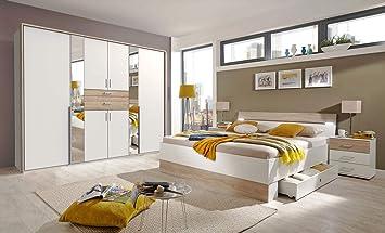 Lifestyle4living Schlafzimmer Komplett Set In Weiß Und Eiche Dekor