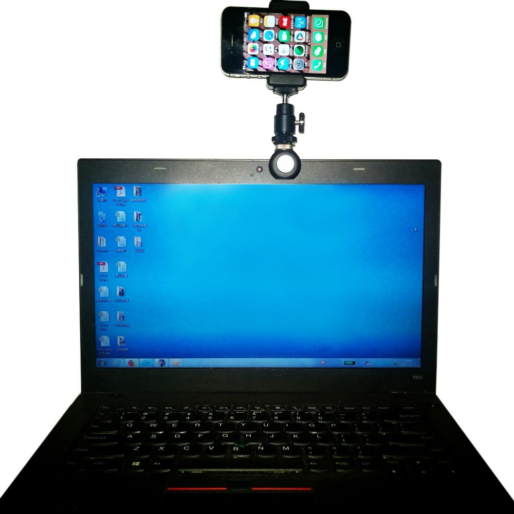 MEINUOKE Distribution Universal Aluminum Smartphone Clip Holder w/Tripod Ball Head Mount for Most Laptop, Tablet, Desk Computer, Cell Phone & Gopro POV Camera- Mount your iPhone to laptop computer