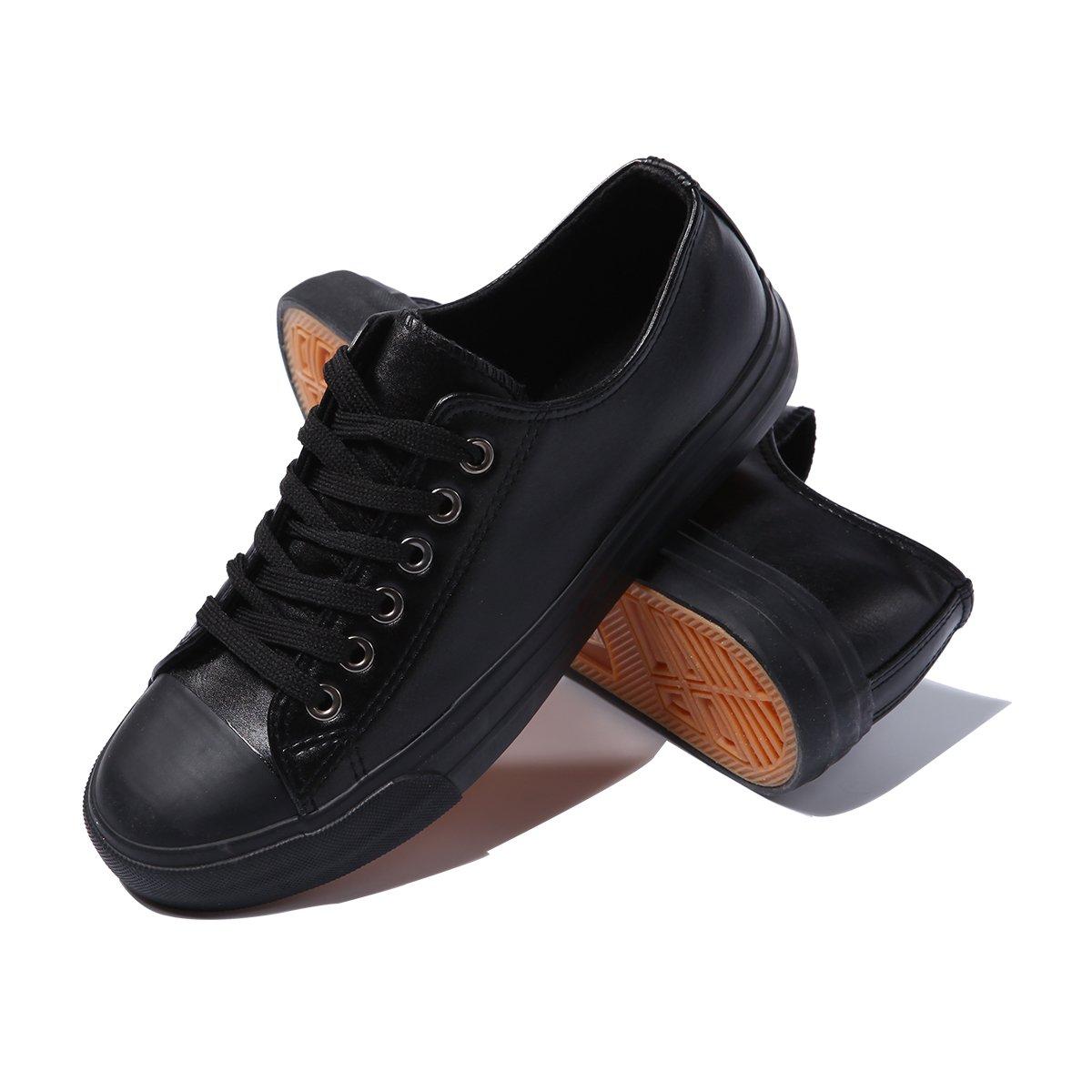 AOMAIS Womens PU Canvas Shoes Sneaker Low Top Lace up Fashion Walking Shoes (Black, US9) …