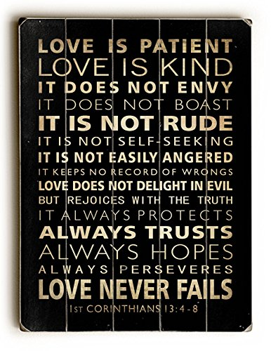 One Bella Casa Love is Patient Solid Wood Wall Decor, One Size, Multicolor from One Bella Casa