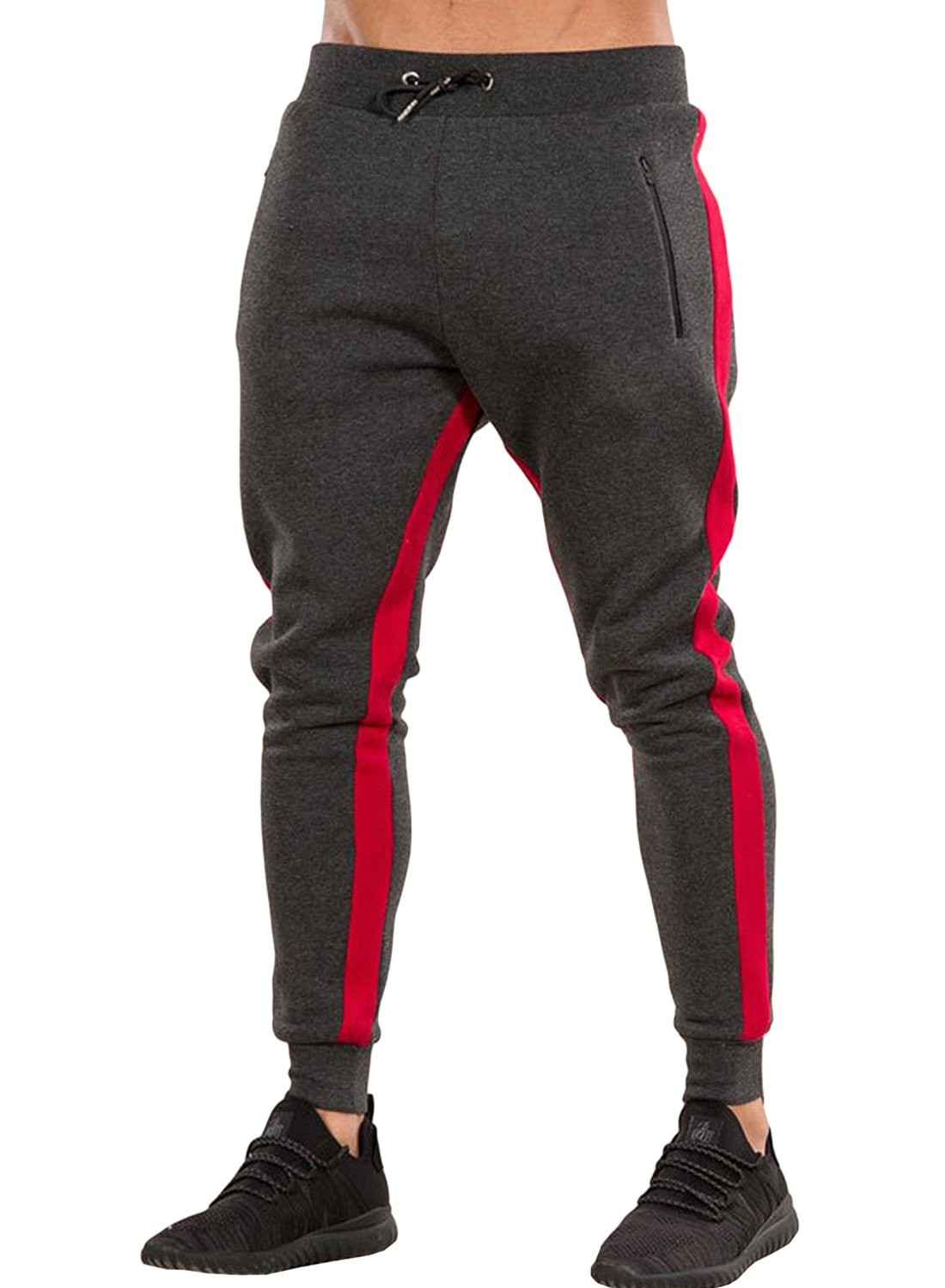 Ouber Men's Gym Jogger Pants Slim Fit Workout Running Sweatpants with Zipper Pockets (S, Red)