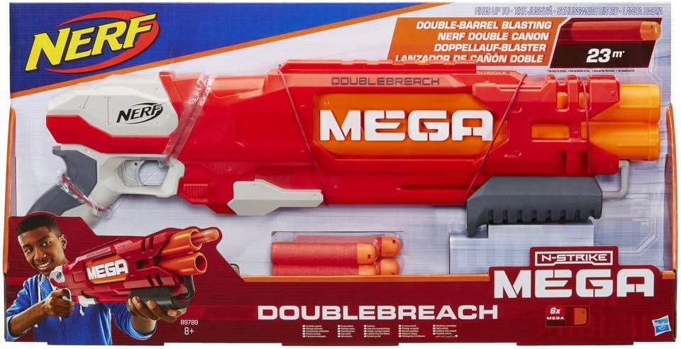 Nerf Ner Mega Doublebreach Pistola Lanza Dardos, Color Gris, Naranja, Rojo, 55 cm (Hasbro B9789EU4)