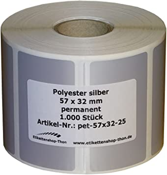 "2000 Thermotransfer Etiketten 25 x 13 mm Polyester Folie silber 1/"" Typenschild"