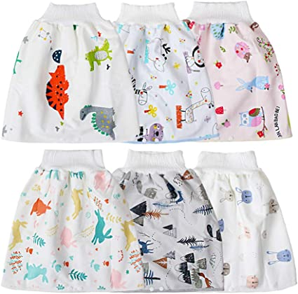 2 in 1 Comfy Childrens Adult Diaper Skirt Shorts Baby Boys Girls Get Free 2pcs Random Color Baby Bibs Towel 0-4 Years A-Rainbow