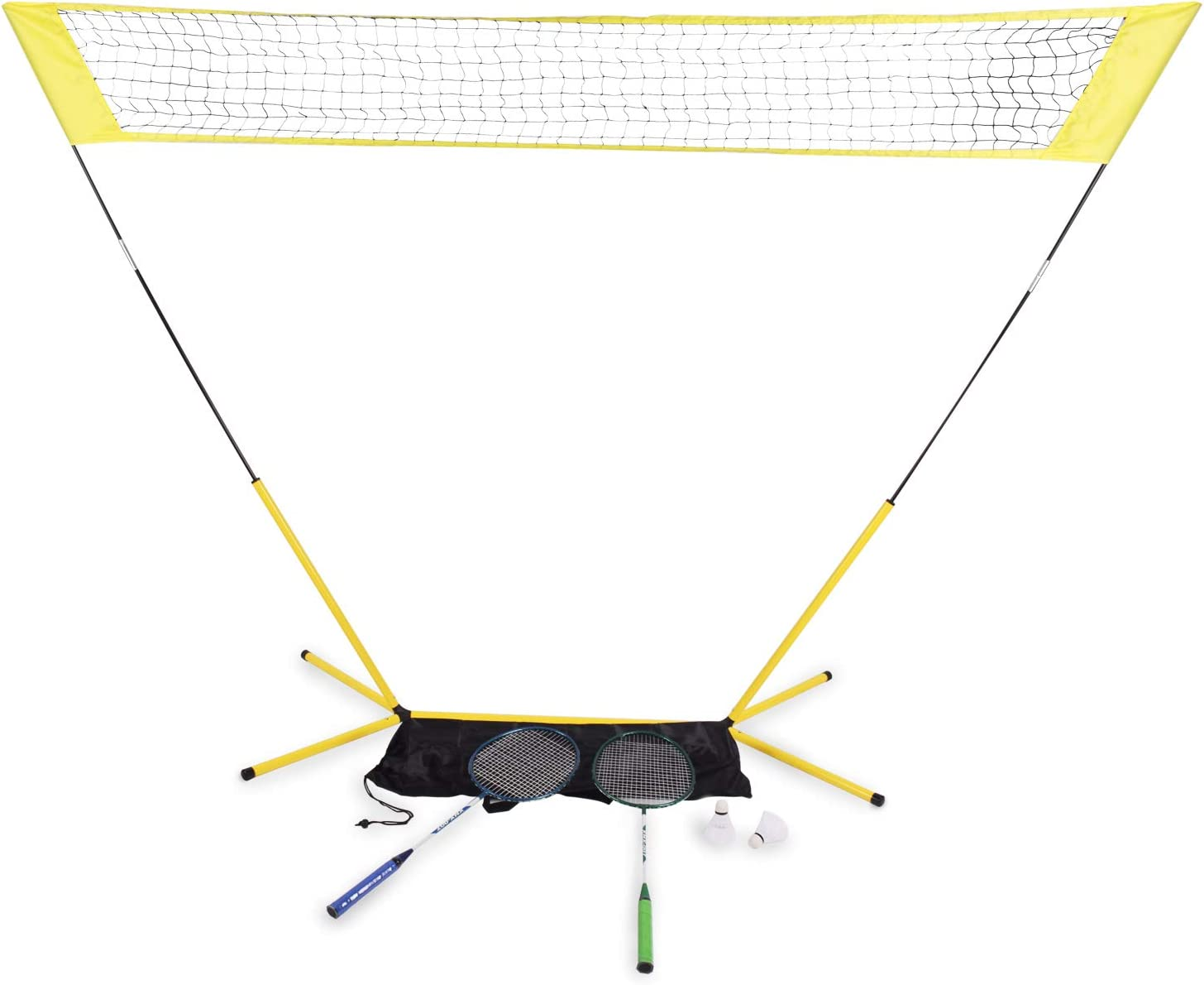 Including 1 Net 2 Rackets 2 Shuttlecocks and 1 Carrying Bag Portable Badminton Net with Stand DRM 3 in 1 Complete Badminton Set for Backyards